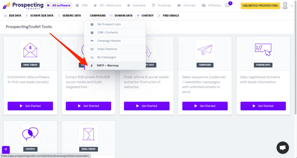 Add your SMTP email to be warmed up automatically